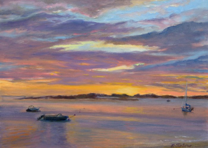 Landscape Greeting Card featuring the painting Wades Beach Sunset by Phyllis Tarlow