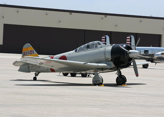 Airplane Greeting Card featuring the photograph Wafb 09 T-6 Tora 101 Zero 8 by David Dunham
