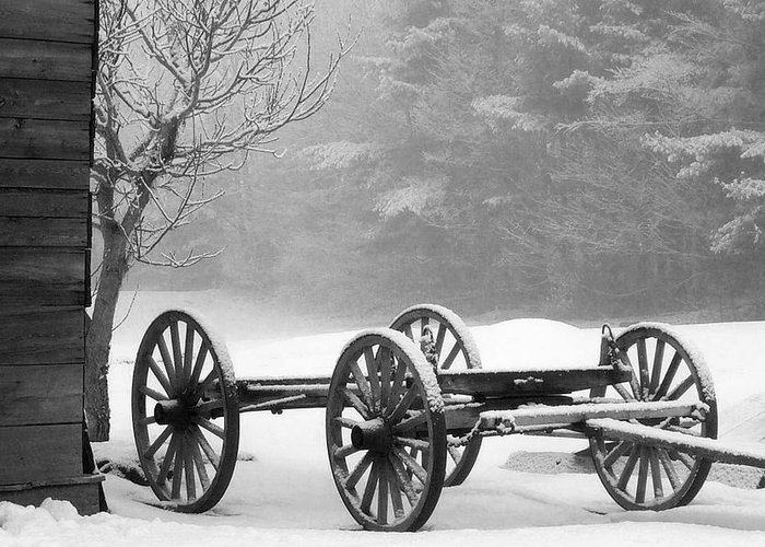 Maine Greeting Card featuring the photograph Wagon In Winter by Linda Drown