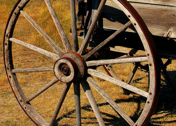 Wagon Greeting Card featuring the photograph Wagon Wheel by Perry Webster