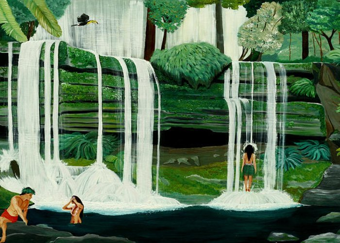 Tiki Art Greeting Card featuring the painting Wahines In Waterfall by Julie Pflanzer