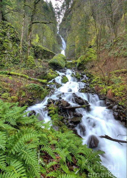 Wahkeena Falls Greeting Card featuring the photograph Wahkeena Falls Oregon Waterfall by Dustin K Ryan