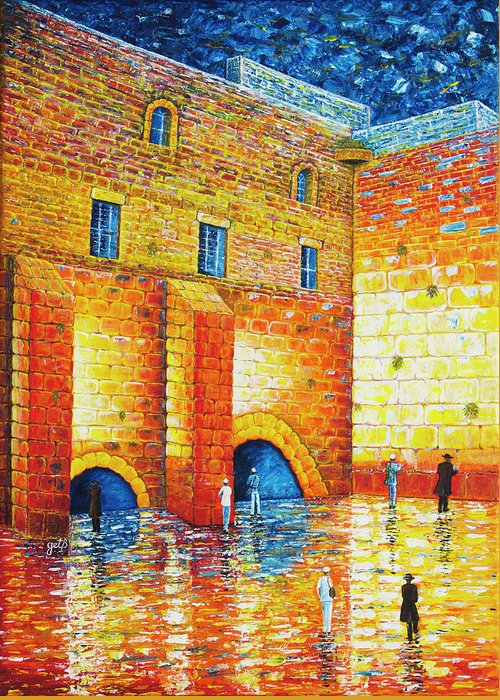 Western Wall Greeting Card featuring the painting Wailing Wall Original Palette Knife Painting by Georgeta Blanaru