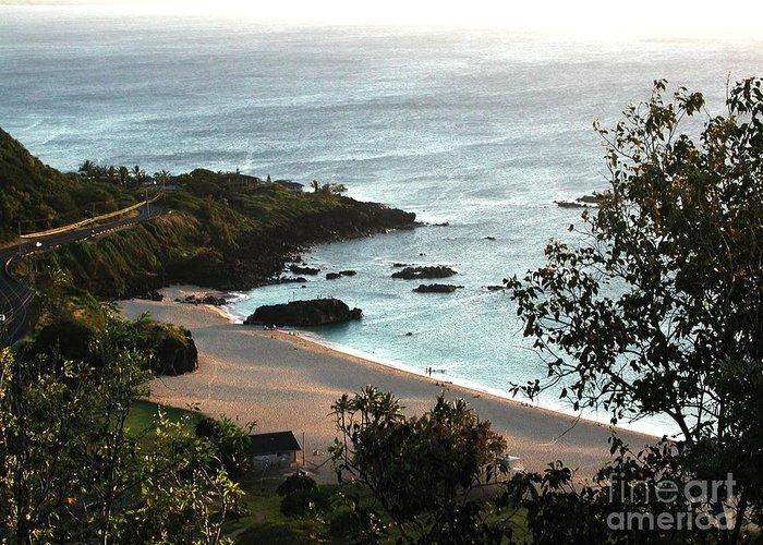 The Beach Greeting Card featuring the photograph Waimea Bay by Chandelle Hazen