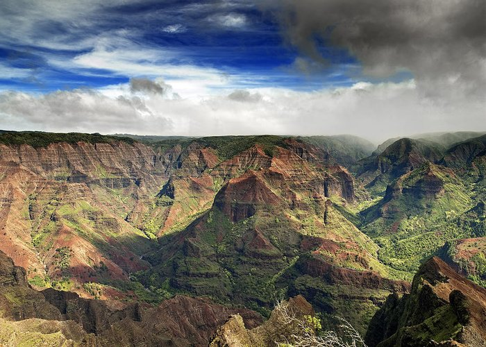 Waimea Greeting Card featuring the photograph Waimea Canyon Hawaii Kauai by Brendan Reals