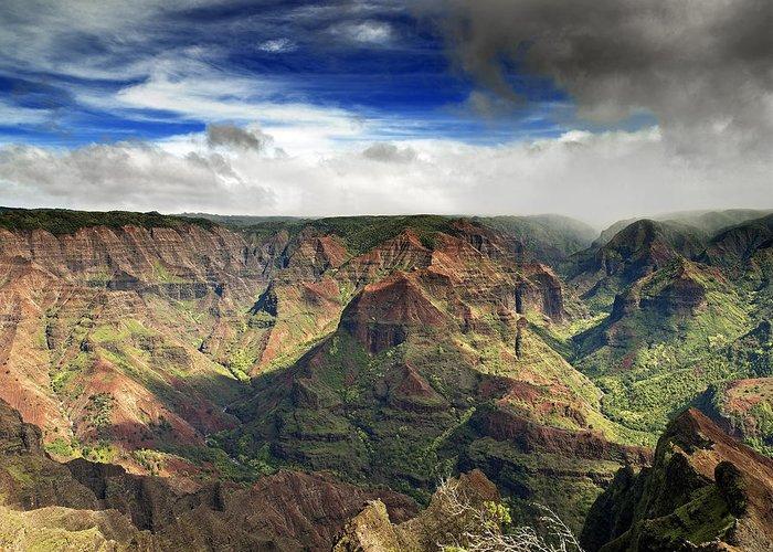 Waimea Greeting Card featuring the photograph Waimea Canyon Hawaii Kauai by Brendan Reals