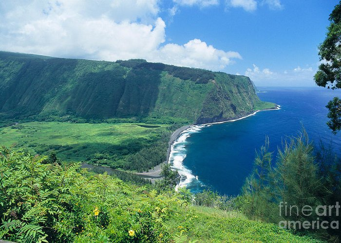 Aerial Greeting Card featuring the photograph Waipio Valley Lookou by Greg Vaughn - Printscapes