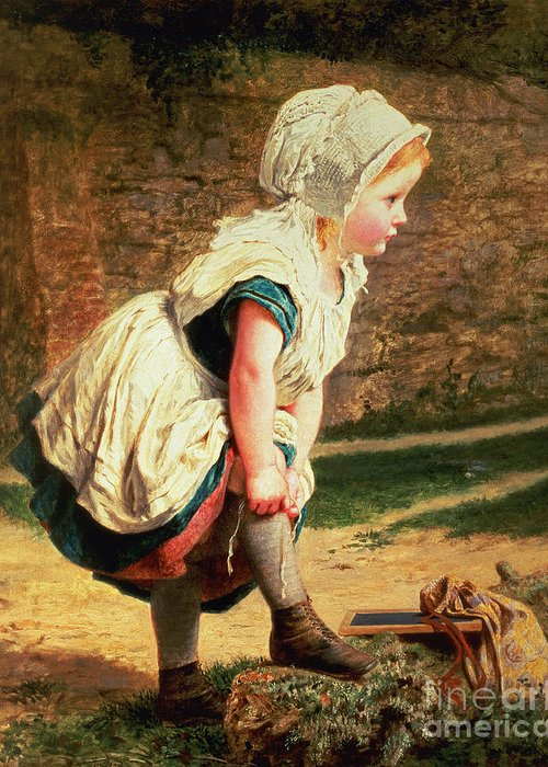 Children;victorian;women Artists;bonnet;fillette;ardoise Greeting Card featuring the painting Wait For Me by Sophie Anderson