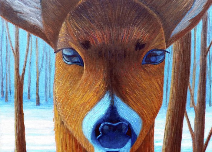 Deer Greeting Card featuring the painting Wait For The Magic by Brian Commerford