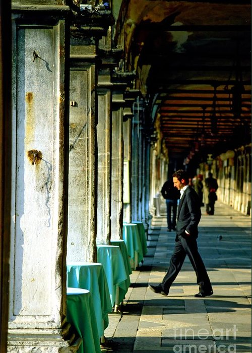 San Marco Greeting Card featuring the photograph Waiter Walking At San Marco In Venice by Michael Henderson