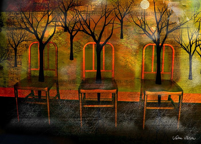 Moon Greeting Card featuring the digital art Waiting For A Miracle by Sabine Stetson