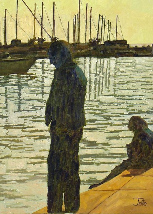 Seascapes Greeting Card featuring the painting Waiting For Breakfast by Tate Hamilton