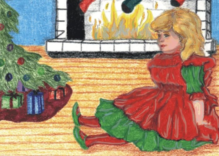 Christmas Greeting Card featuring the drawing Waiting For Christmas by Jennifer Skalecke