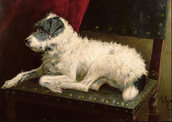 Dog Greeting Card featuring the painting Waiting For Master by George Paice