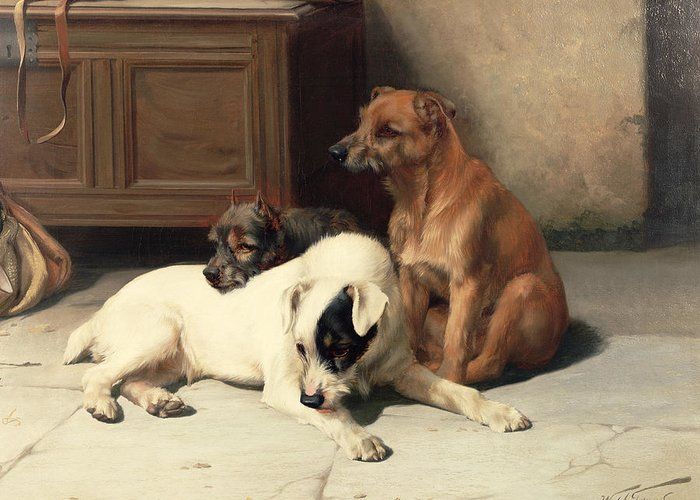 Waiting For Master Greeting Card featuring the painting Waiting For Master by William Henry Hamilton Trood