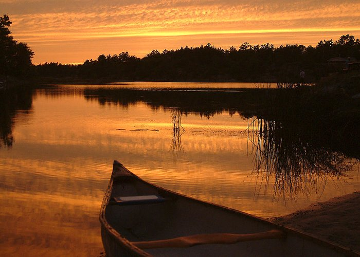 Canoe Greeting Card featuring the photograph Waiting For Me by Linda McRae