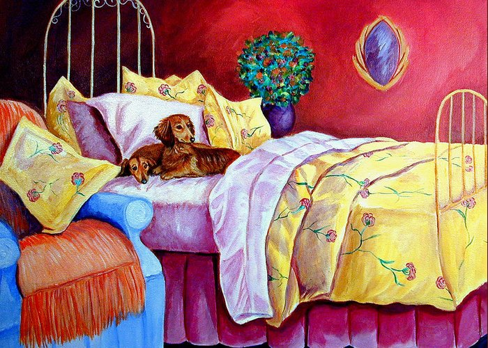 Dachshund Dog Greeting Card featuring the painting Waiting For Mom - Dachshund by Lyn Cook