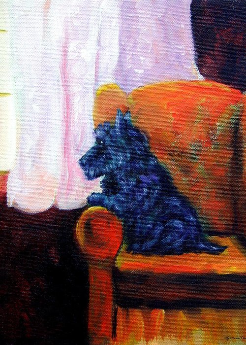 Scottish Terrier Greeting Card featuring the painting Waiting For Mom - Scottish Terrier by Lyn Cook