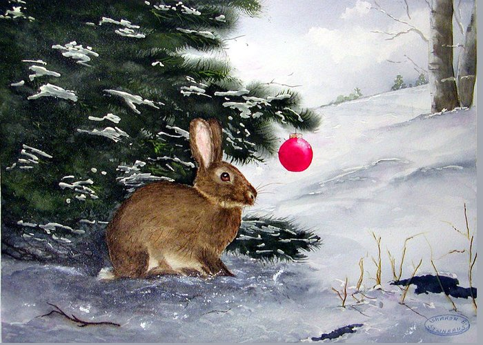 Bunny Greeting Card featuring the painting Waiting For Santa by Sharon Steinhaus