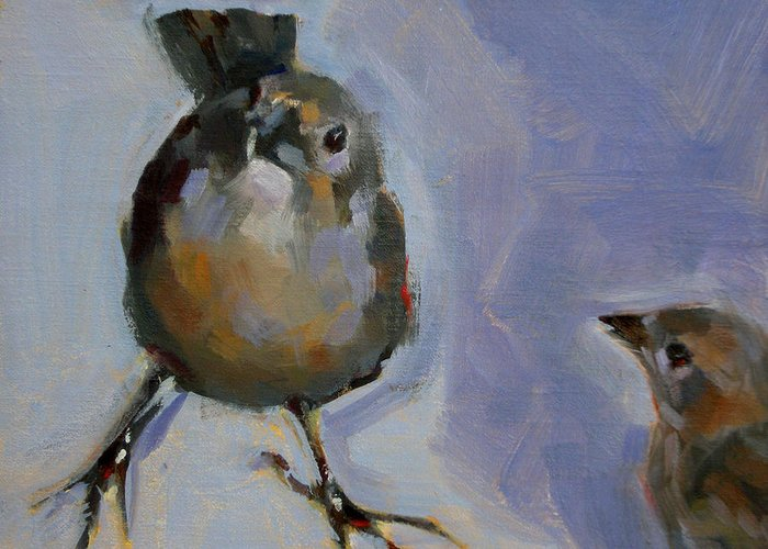 Birds Greeting Card featuring the painting Waiting For Snacks by Merle Keller