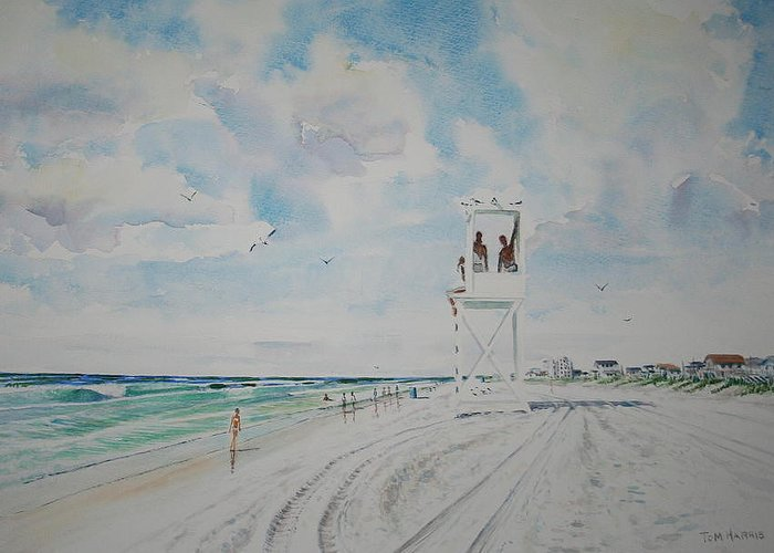 Ocean Greeting Card featuring the painting Waiting For The Lifeguard by Tom Harris