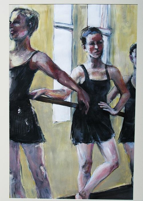 Dancers Greeting Card featuring the painting Waiting for the Music by Michelle Winnie