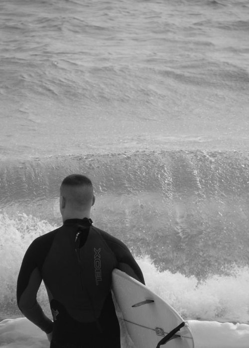 Black And White Greeting Card featuring the photograph Waiting For The Perfect Wave by Staci-Jill Burnley