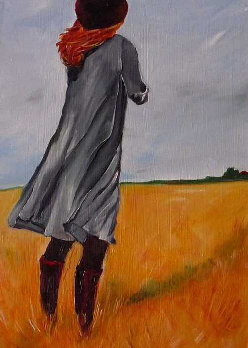 Figurative Greeting Card featuring the painting Waiting For The Storm by Irit Bourla