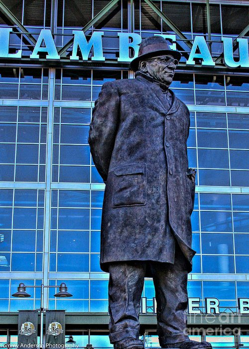 Lambeau Field Greeting Card featuring the photograph Waiting For Victory by Tommy Anderson