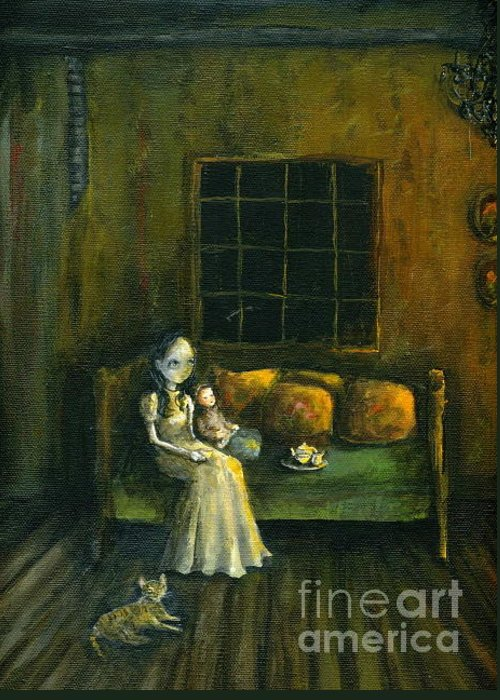 Gothic Greeting Card featuring the painting Waiting For You by Mya Fitzpatrick