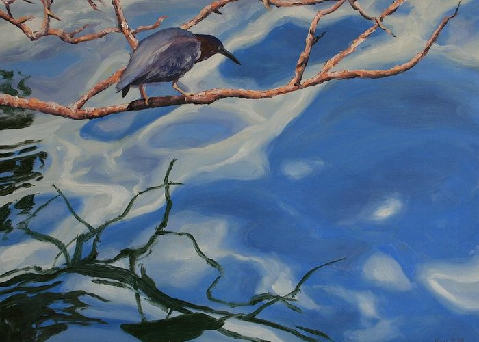 Oil Painting Greeting Card featuring the painting Waiting by Michael Vires