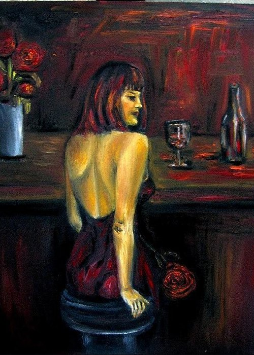 Woman Greeting Card featuring the painting Waiting... Oil Painting  by Natalja Picugina