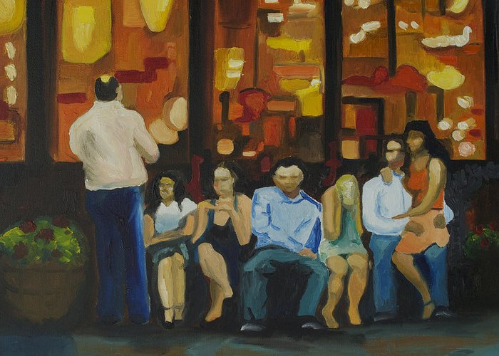 Red Bank Greeting Card featuring the painting Waiting On A Taxi by Patricia Arroyo