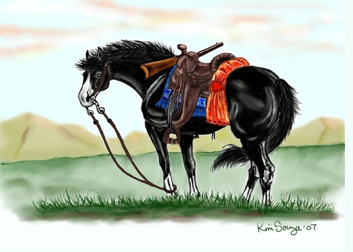 Horses Greeting Card featuring the digital art Waiting On The Boss by Kim Souza