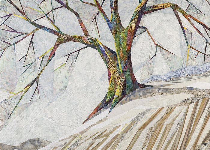 Landscape Greeting Card featuring the tapestry - textile Waiting Out Winter by Linda Beach