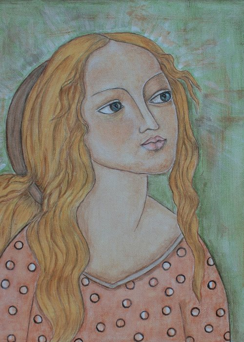 Paintings Greeting Card featuring the painting Waiting by Rain Ririn