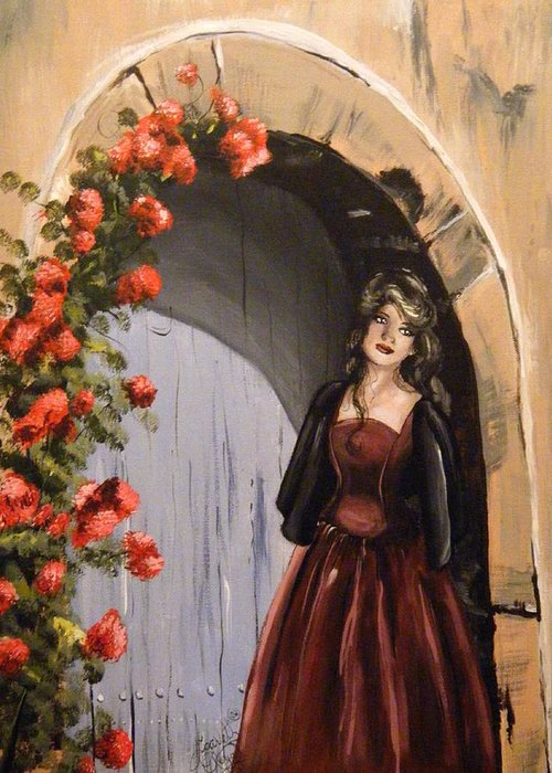 Door Greeting Card featuring the painting Waiting by Scarlett Royal