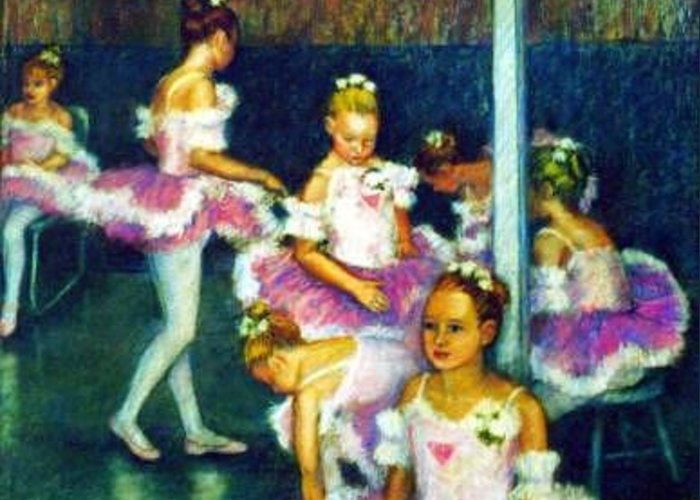 Ballet Child Dancer Greeting Card featuring the painting Waiting Their Turn by Helen Hickey
