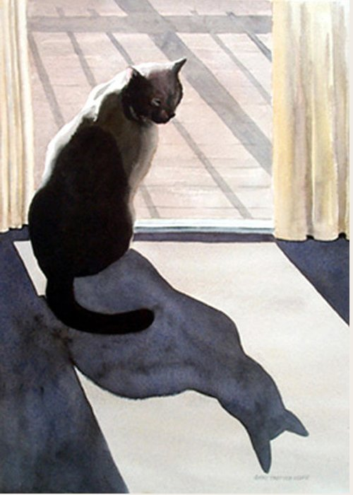 Cat Greeting Card featuring the print Waiting To Go Out by Anne Trotter Hodge