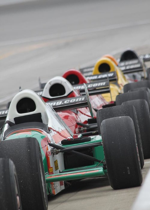 Indy Car Greeting Card featuring the photograph Waiting To Run by Lauri Novak