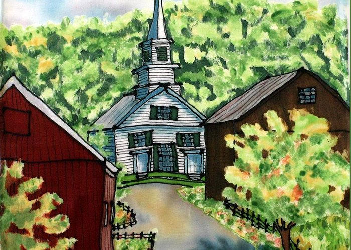 Church Greeting Card featuring the painting Waits River Church by Linda Marcille