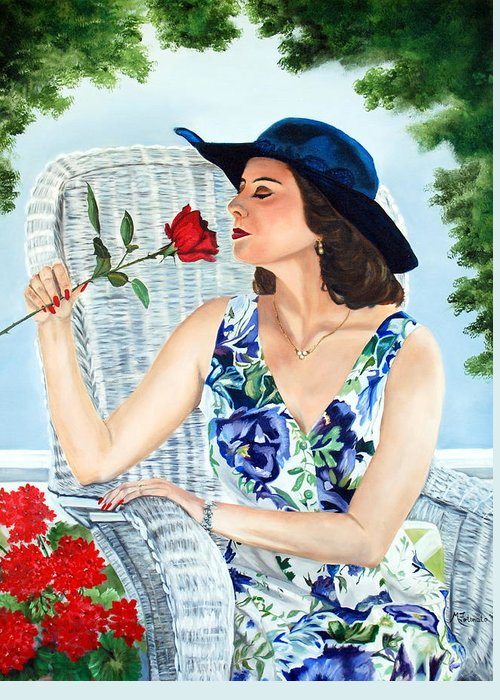 Woman Greeting Card featuring the painting Wake Up And Smell The Rose by Margaret Fortunato