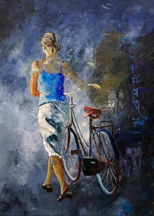 Girl Greeting Card featuring the painting Waking Aside Her Bike 68 by Pol Ledent