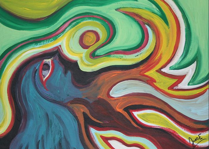 Figurative Greeting Card featuring the painting Waking by Jessica Kauffman