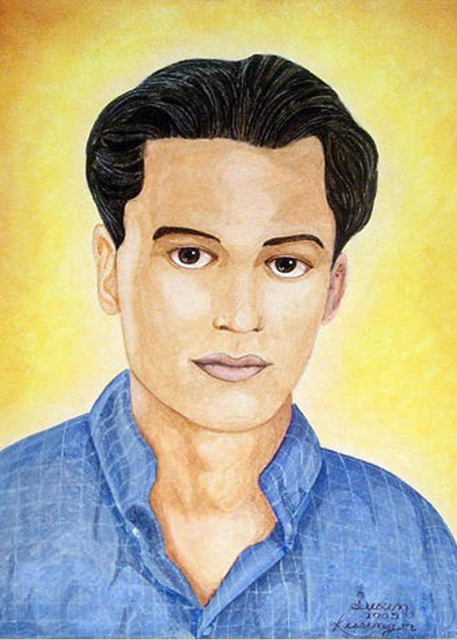 Portrait Greeting Card featuring the painting Walid by Susan Clausen