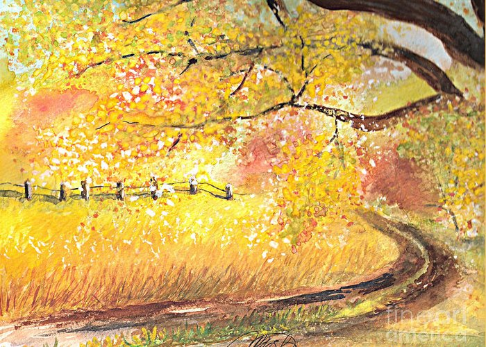 Landscape Greeting Card featuring the painting Walk About by Vivian Mosley