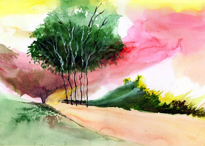 Watercolor Greeting Card featuring the painting Walk Away by Anil Nene