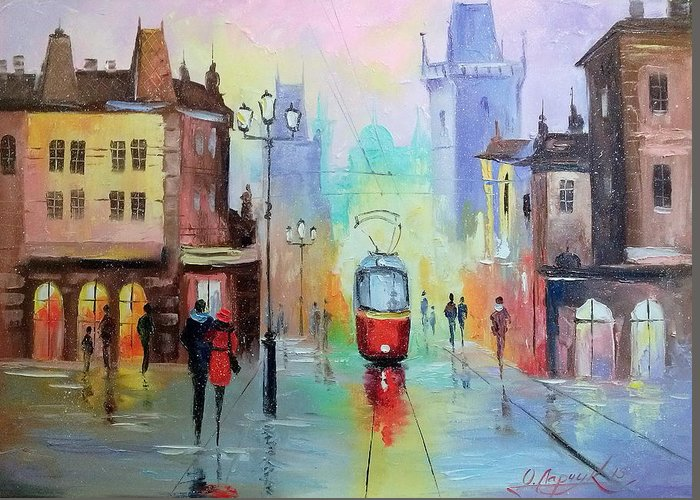 Walk In Prague Greeting Card featuring the painting Walk In Prague by Olha Darchuk