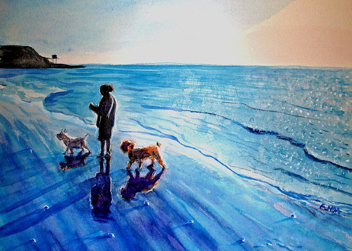 Seascape Greeting Card featuring the painting Walk In The Twilight by Aymeric NOA