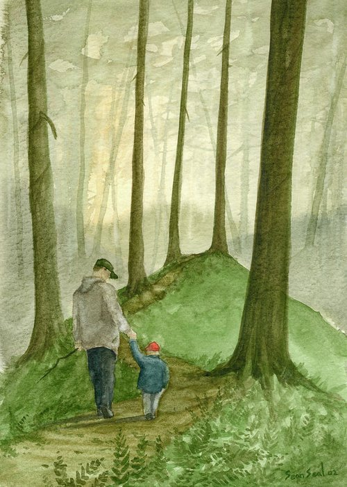 Father Greeting Card featuring the painting Walk In The Woods by Sean Seal
